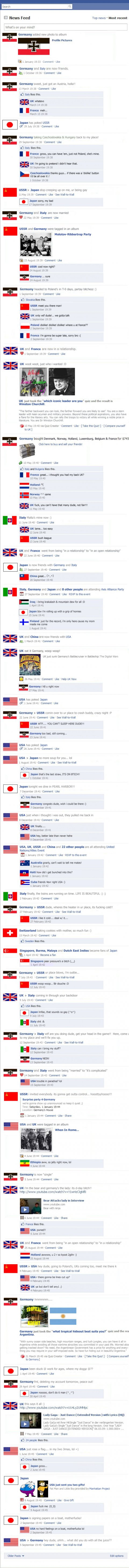 World war 2(two) on facebook, historical facebook updates