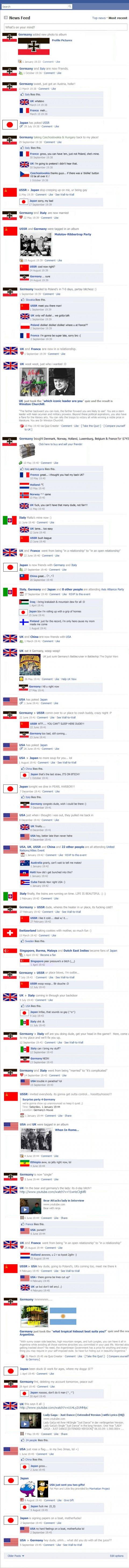 World war 2(two) on facebook, historical facebook updates