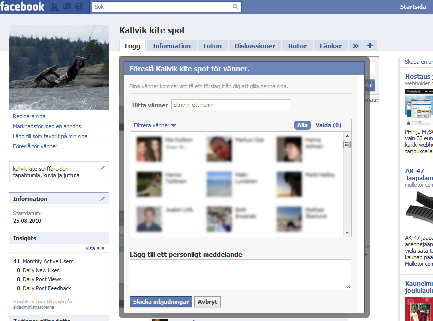 Invite All Friends To A Facebook Fanpage Jonathans
