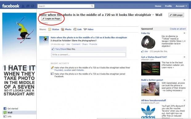 login as a facebook fan page