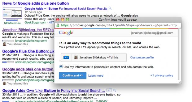 Google plus one button popup