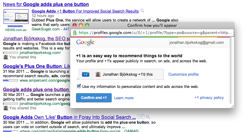 google 1 button. The plus one button is visible