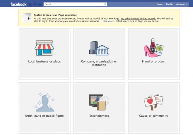 Convert Facebook profile into Facebook fan page