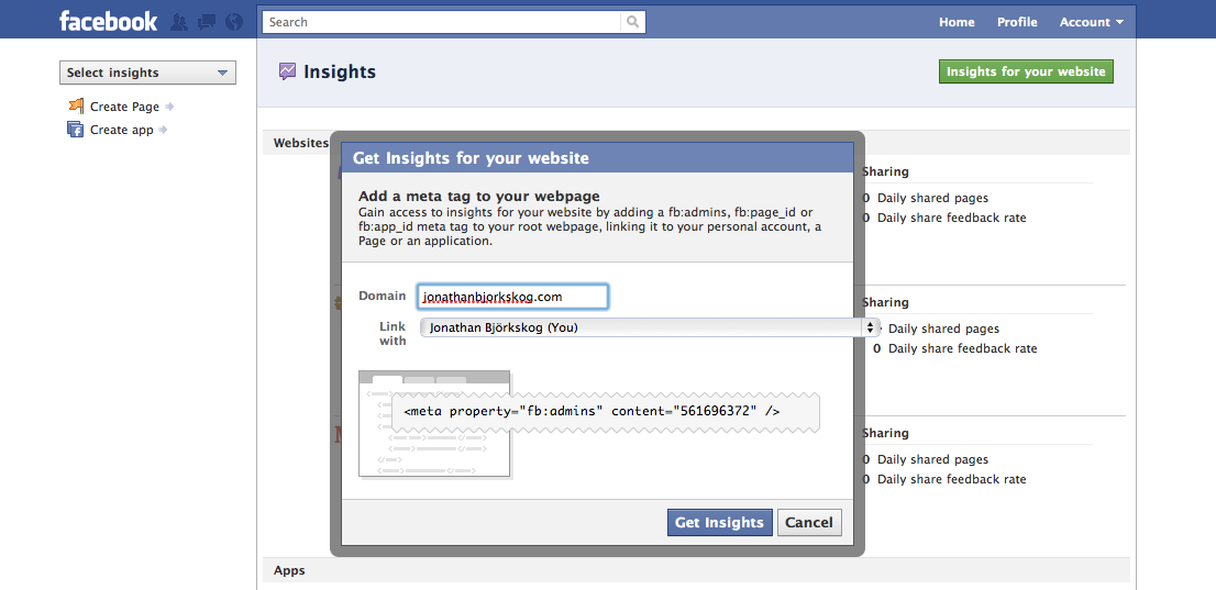 Track Facebook likes and shares on your website with Insights