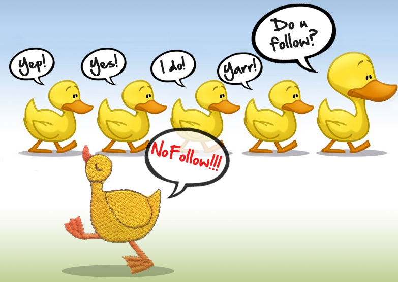 NoFollow duck: Bad duck, NoFollow link: bad link?
