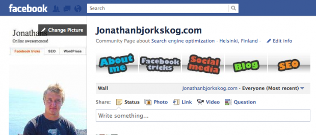 Facebook banner for page listing services randomized