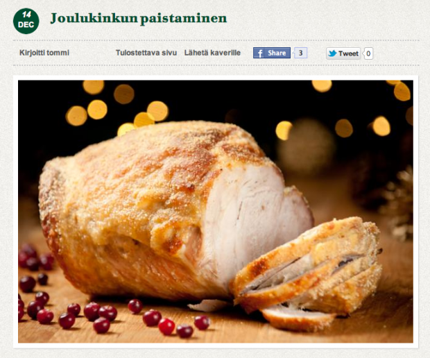 joulukinkun paistaminen - a trend at christmas in Finland